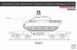 Takom Jagdpanther G1,Early production Sd.Kfz.173&Schwerer Plattformwagen Type SSys  1:35