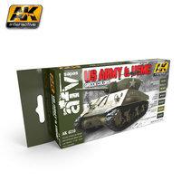 AK AFV Paint Set US Army & USMC Green Colors