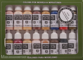 VALLEJO	Model Color, 16 Color Set 16 Face & Skintones