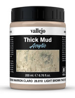 Vallejo Water Stone & Earth;Light Brown Thick Mud 200ml