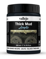 Vallejo Water Stone & Earth: Black Thick Mud 200ml