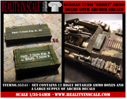 Reality in Scale German 75mm Ammo Boxes 1:35