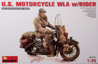 Miniart   Motorcycle WLA w/Rider 1:35